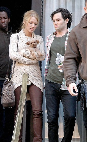 Blake Lively and Penn Badgley filming Gossip Girl.