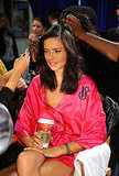 Adriana Lima sipped on a coffee at the Victoria's Secret Fashion Show.
