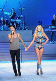Adam Levine held hands with his girlfriend, Anne Vyalitsina.