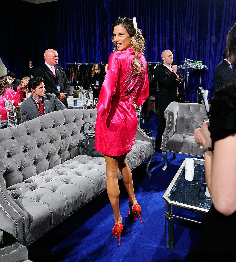 Alessandra Ambrosio strutted her stuff backstage in all pink.
