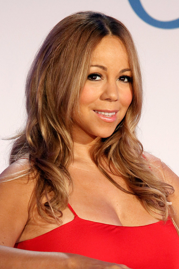 Mariah Carey in a sexy red dress.