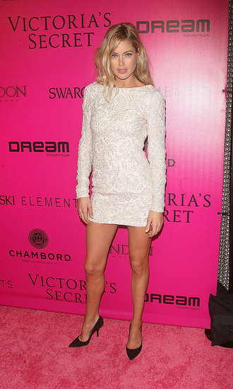 Doutzen Kroes hit the Victoria's Secret afterparty in a white minidress.