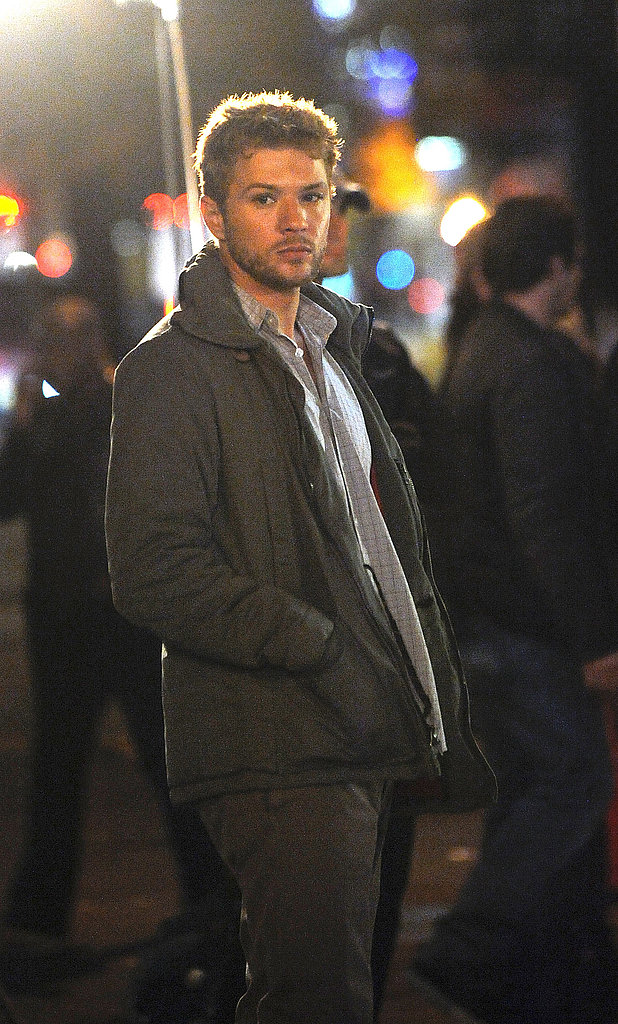 Ryan Phillippe kept warm in a Winter coat.