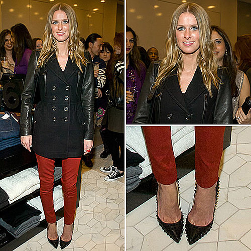 Celeb Style: Nicky Hilton&#039;s Red Skinnies and Edgy Spiked Heels