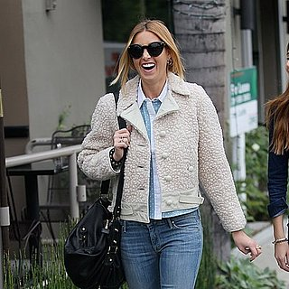 Pictures of Whitney Port Wears Alice McCall Contrast Collar Shirt and Shearling Jacket in Beverley Hills