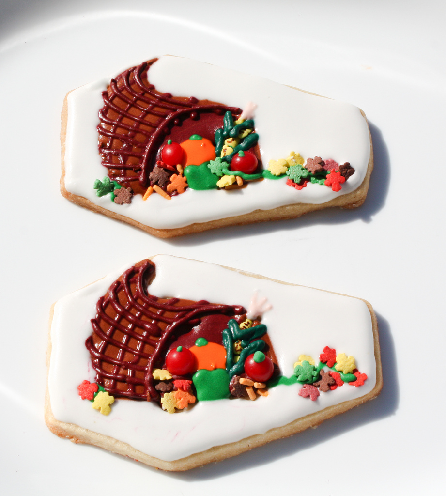 Cornucopia Horn of Plenty Thanksgiving Cookie