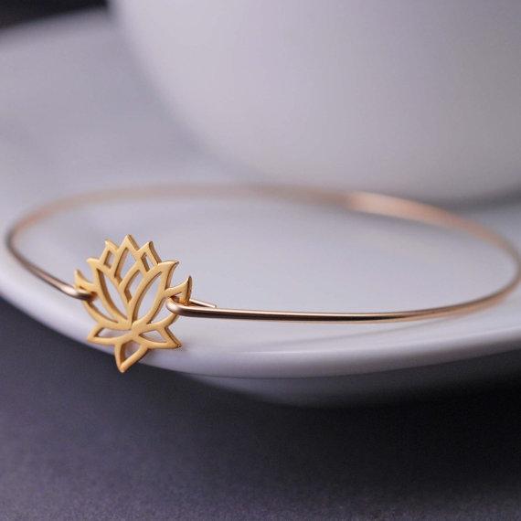 Gold Lotus Bangle Bracelet