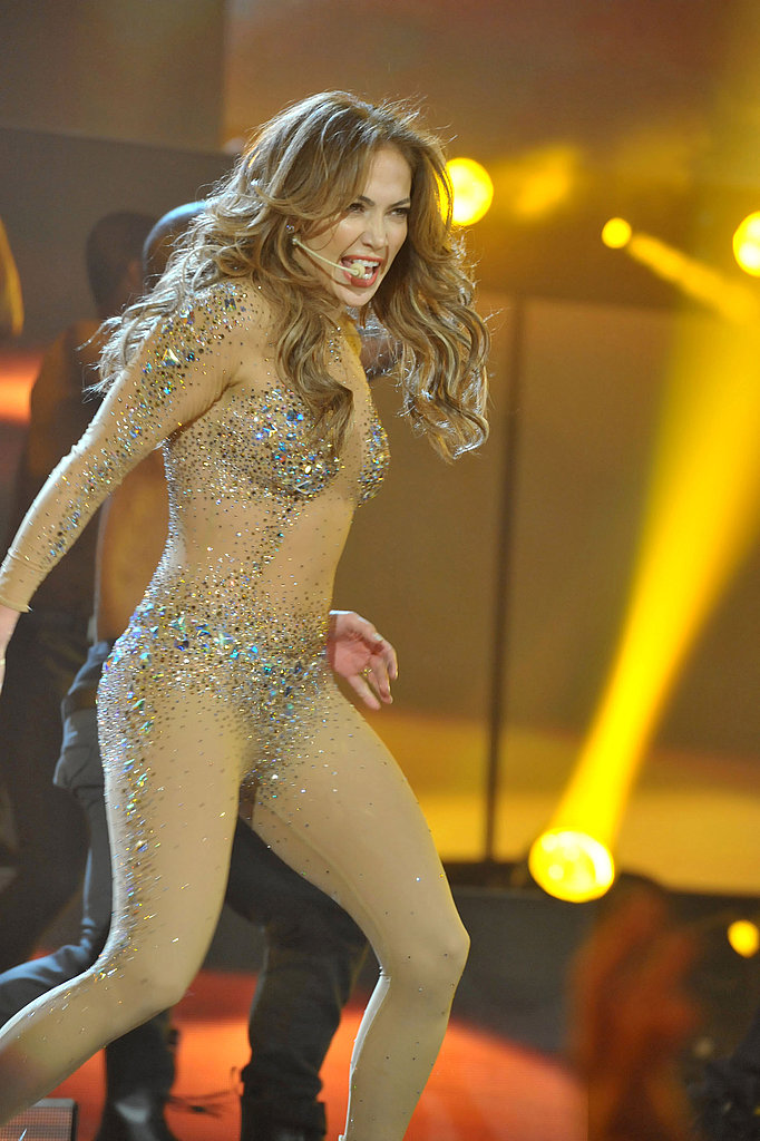Jennifer Lopez revealed a crystal-encrusted body suit.