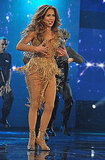 Jennifer Lopez wore a fringe skirt on stage.
