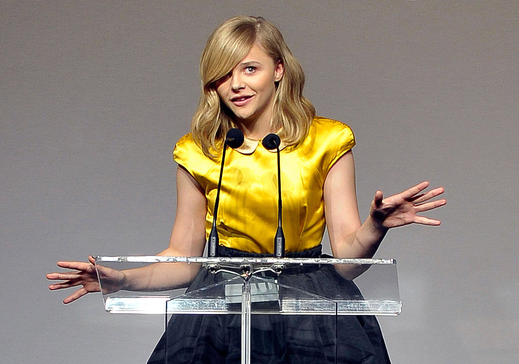 Chloe Moretz made an animated speech.