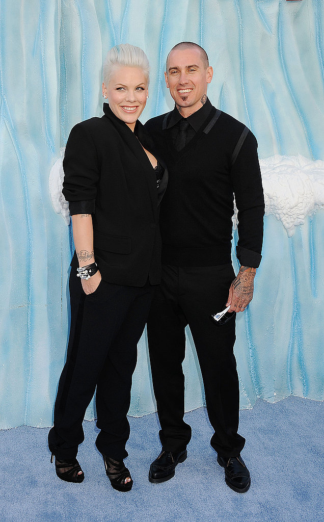 Pink and Carey Hart were in all black for the Happy Feet Two premiere.