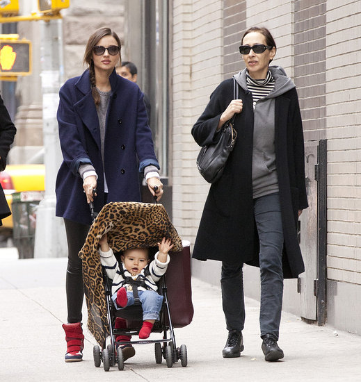 Miranda Kerr pushed a very happy Flynn Bloom in a stroller in NYC.