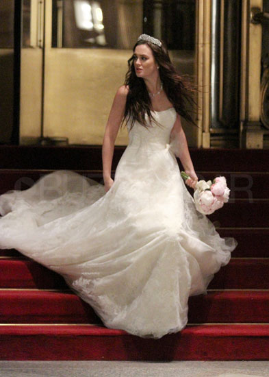 Leighton Meester as Blair Waldorf on the set of Gossip Girl.