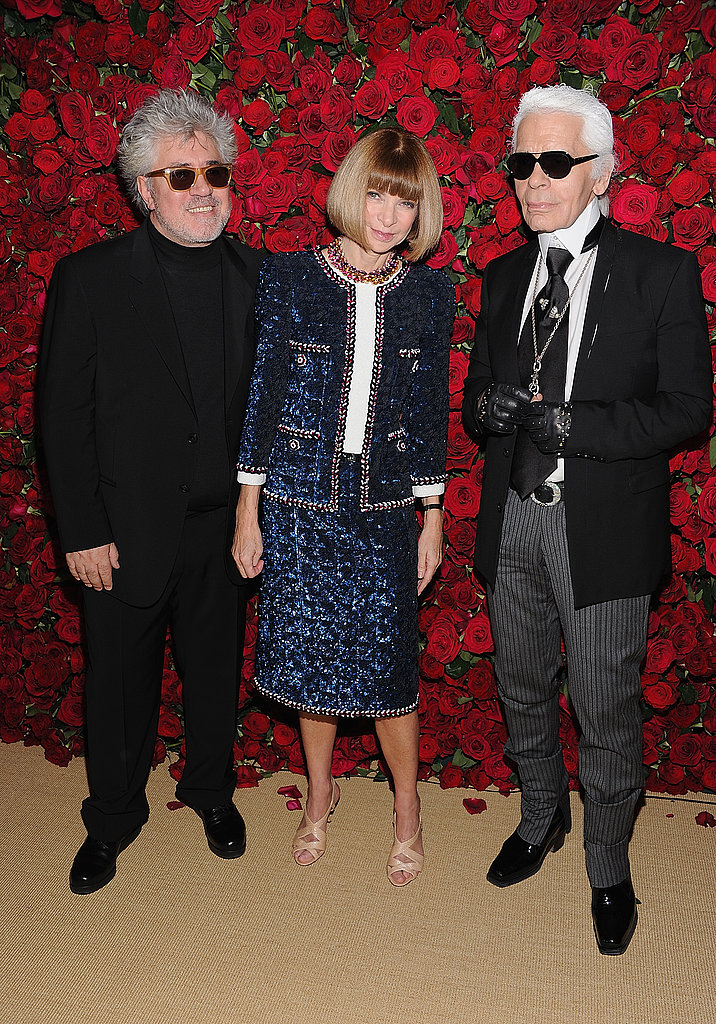 Pedro Almodovar, Anna Wintour and Karl Lagerfeld chatted at a party at NYC's MoMA.