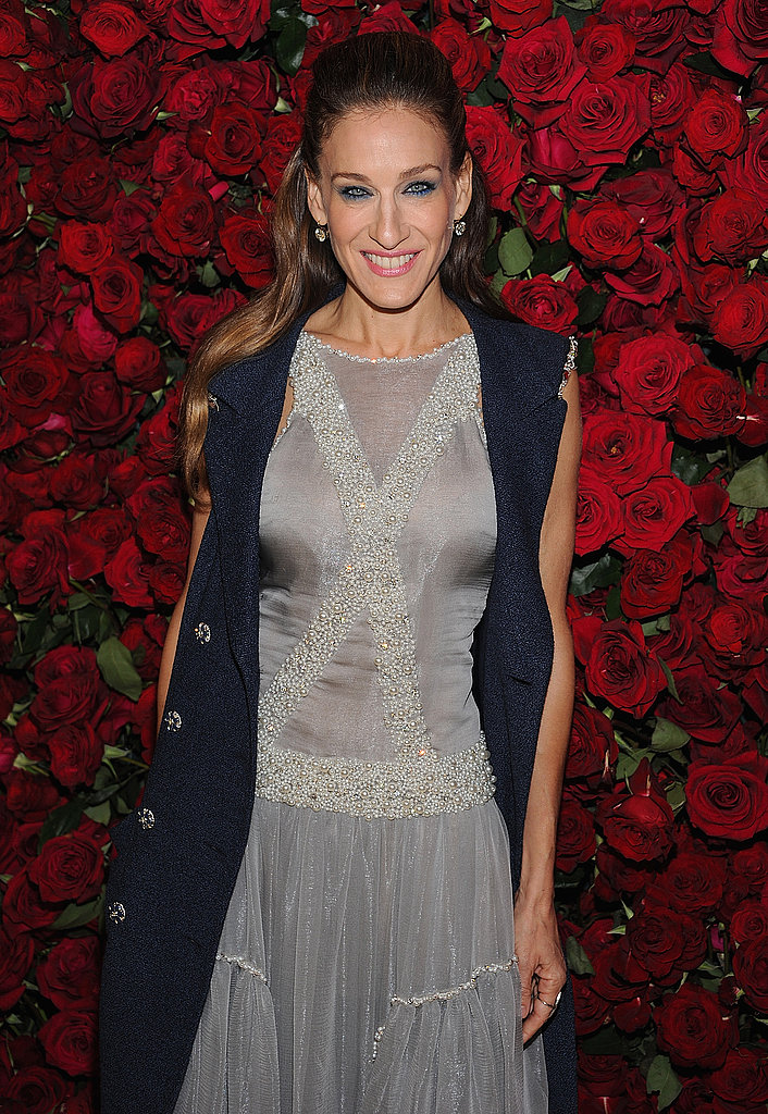 Sarah Jessica Parker in a beaded grey dress in NYC.