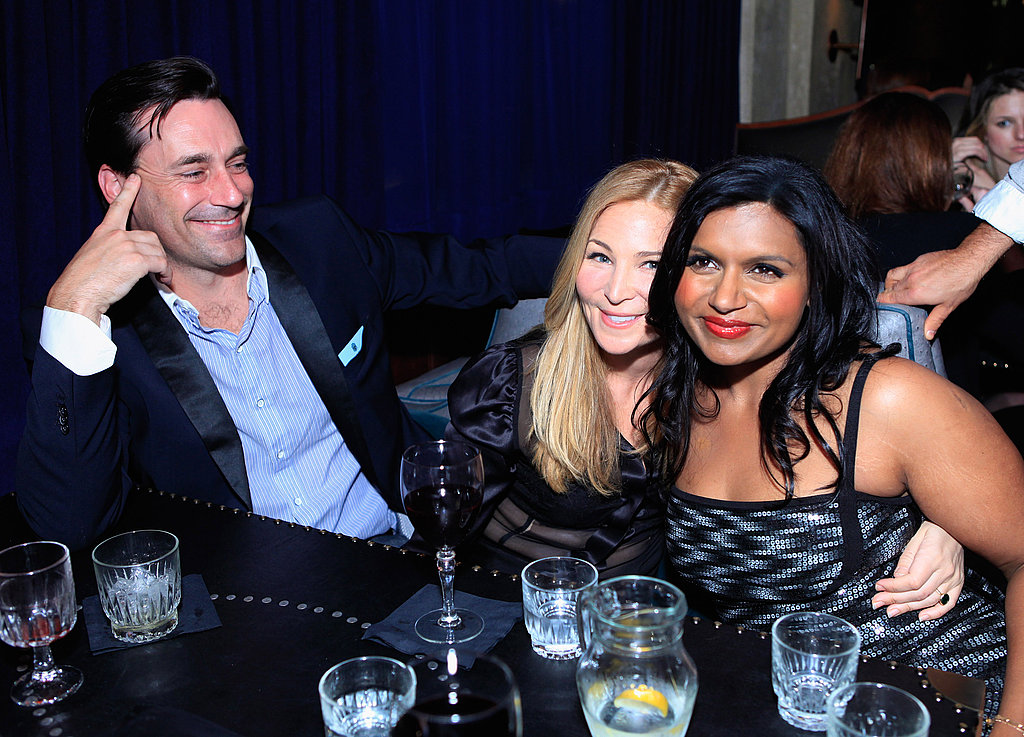 Jon Hamm sat back while the girls hugged it out.