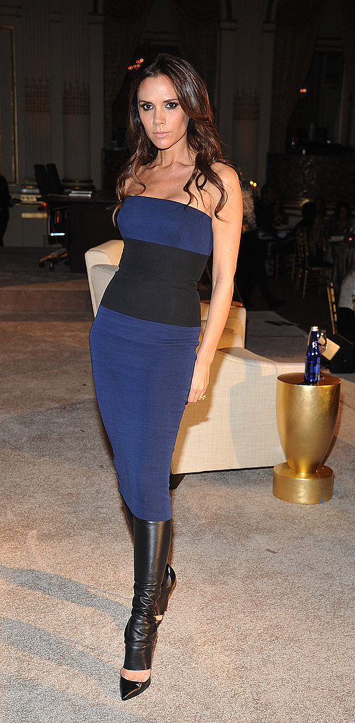 Victoria Beckham wore her own design to WWD's Apparel and Retail CEO Summit at NYC's Plaza Hotel.