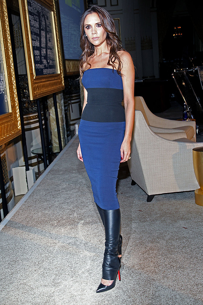 Victoria Beckham Dons Leather Leg Warmers For a Conversation With WWD