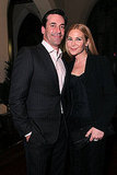 Couple Jon Hamm and Jennifer Westfeldt stuck close during their dinner date.