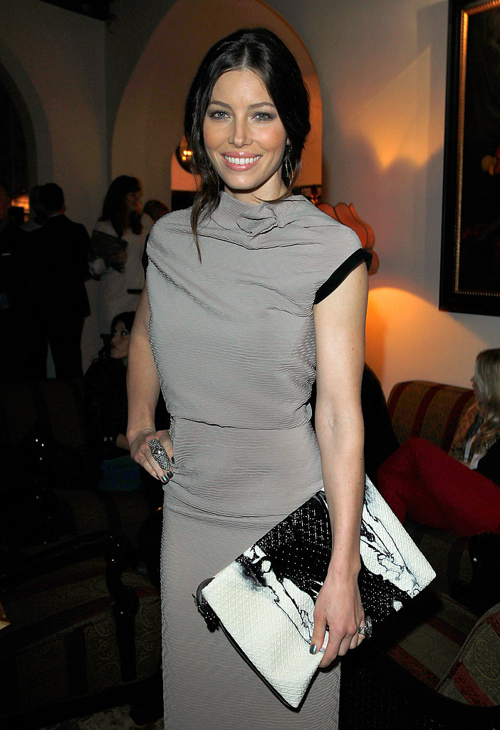 Jessica Biel wore a neutral shade of gray to the Tod's event.