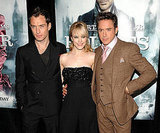 Rachel smiled big with Jude Law and Robert Downey Jr. at the Sherlock Holmes premiere in December 2009.