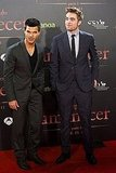 Taylor Lautner and Robert Pattinson at the Breaking Dawn Part 1 premiere in Barcelona.