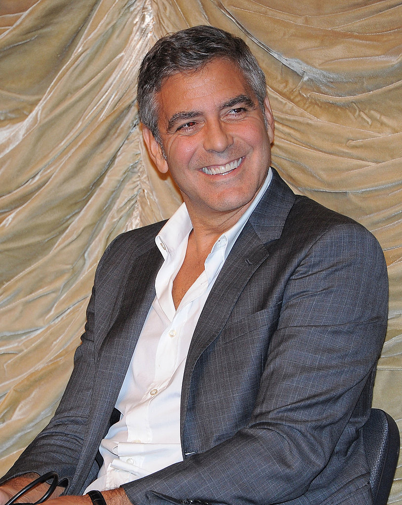 George Clooney laughed during a talk at the LACMA.