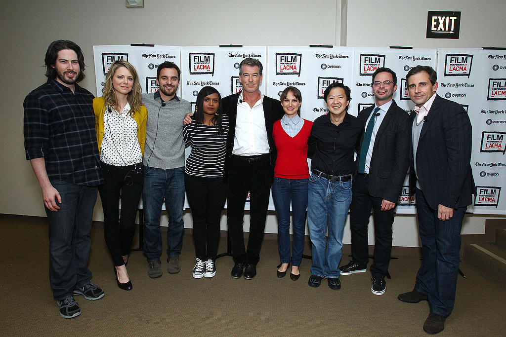 Natalie Portman, Steve Carrell, Pierce Brosnan, Jason Reitman, Nick Kroll, Mindy Kaling, Collette Wolfe, Ken Jeong, and Jake Johnson after a reading of The Apartment.