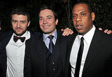 Justin Timberlake, Jimmy Fallon and Jay-Z posed together.
