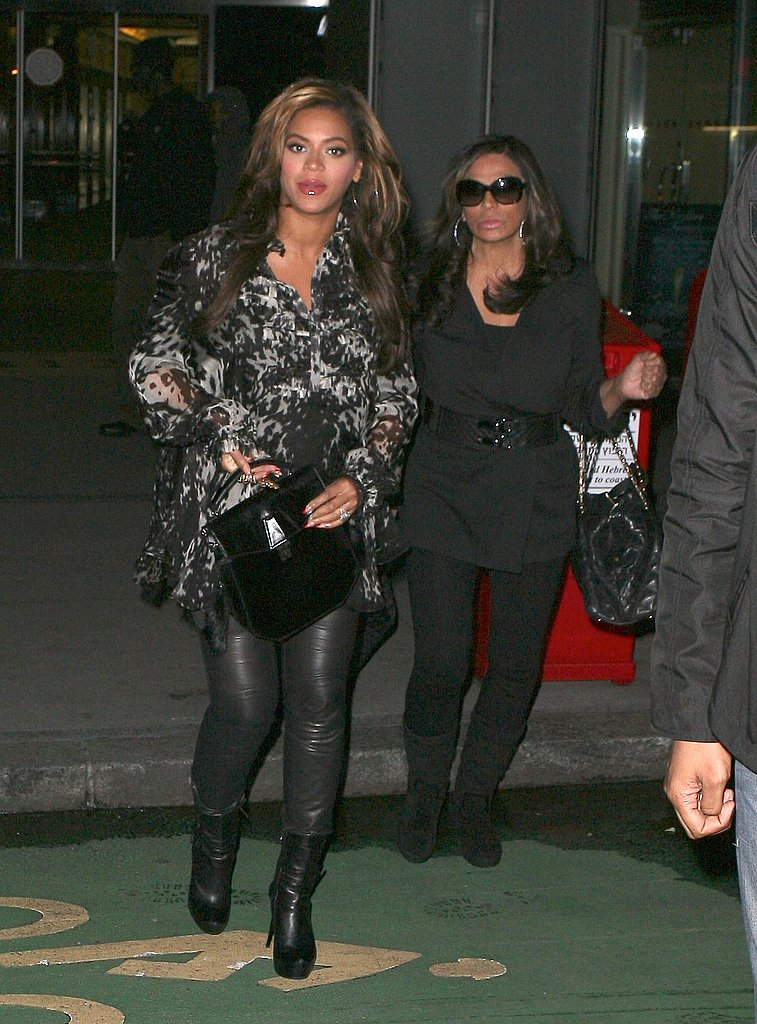 Beyoncé Knowles heads to a meeting with her mom Tina.