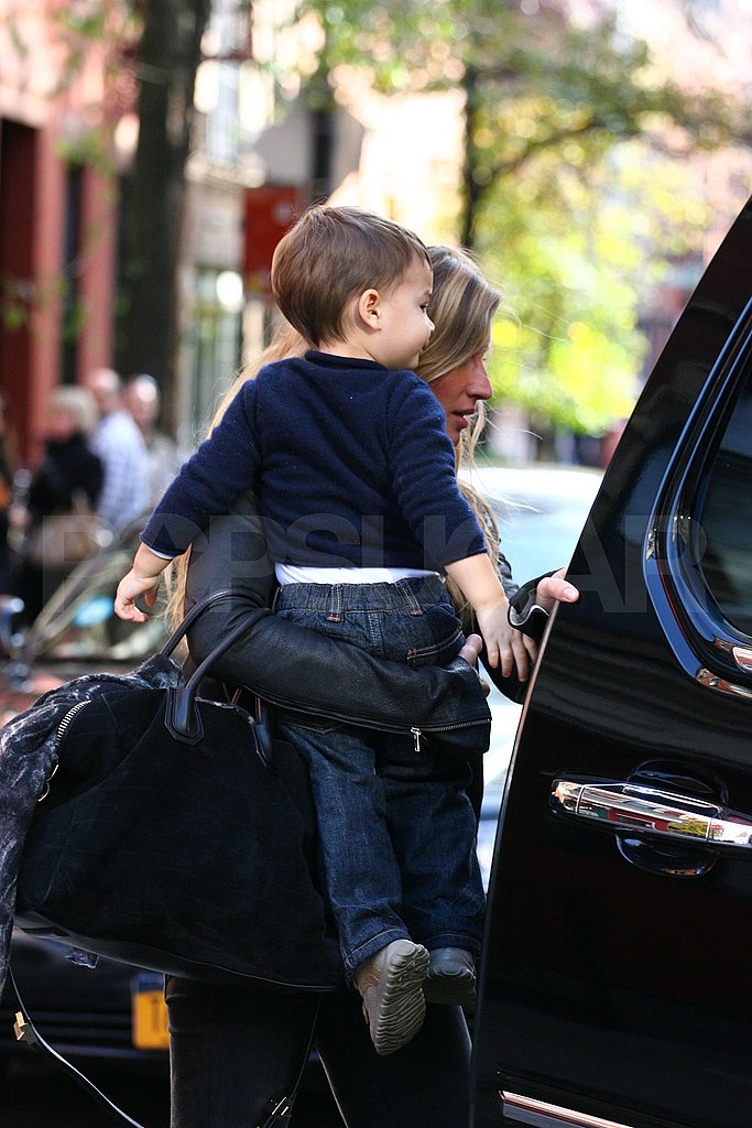 Gisele Bundchen put her son Benjamin Brady in a car.