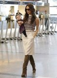 Victoria Beckham and Harper Beckham headed to the UK.