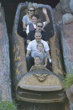 Reese Witherspoon and her family on the log ride at Disneyland.