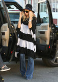 Rachel Zoe in a striped sweater.