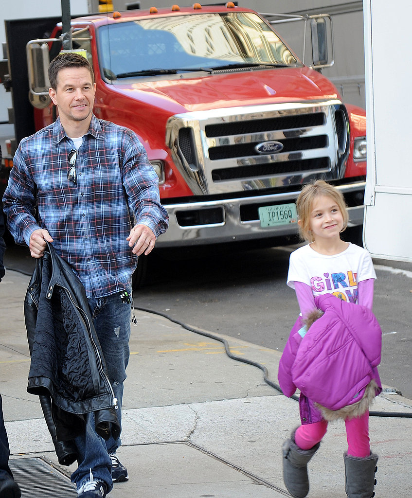 Mark Wahlberg on set with his daughter Ella.