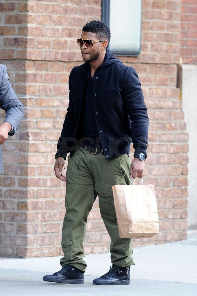 Usher took the boys shopping in Manhattan.