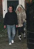 Kate Moss out in a fur coat.