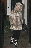 Kate Moss in London in a fur coat.