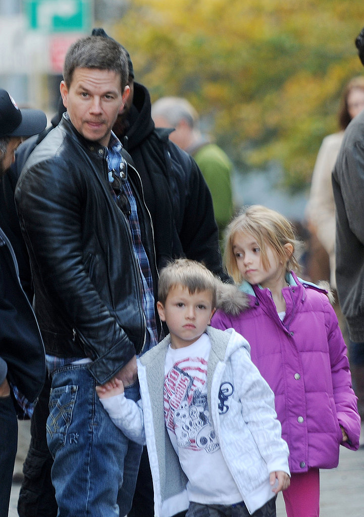 Mark Wahlberg on set with kids Michael and Ella.