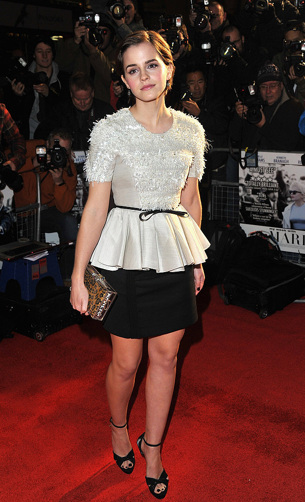 Emma Watson hit the My Week With Marylin premiere in London in a pretty black and white peplum-adorned Jason Wu dress.