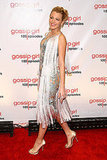 Blake Lively graced the Gossip Girl red carpet in a sexy sheer, embellished, and fringed Marchesa dress.