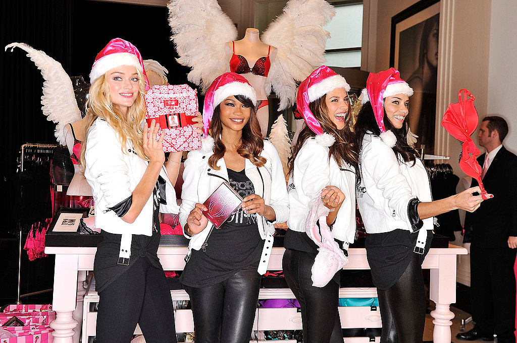 Alessandra Ambrosio, Adriana Lima, Chanel Iman, Lindsay Ellingson posing at Victoria's Secret in NYC.