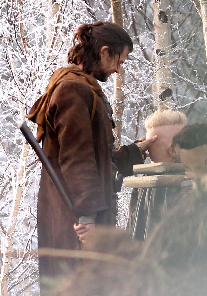 Chris Hemsworth filming Snow White and the Huntsman in the UK.
