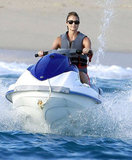 Stacy Keibler jet skiing in a bikini in Mexico.