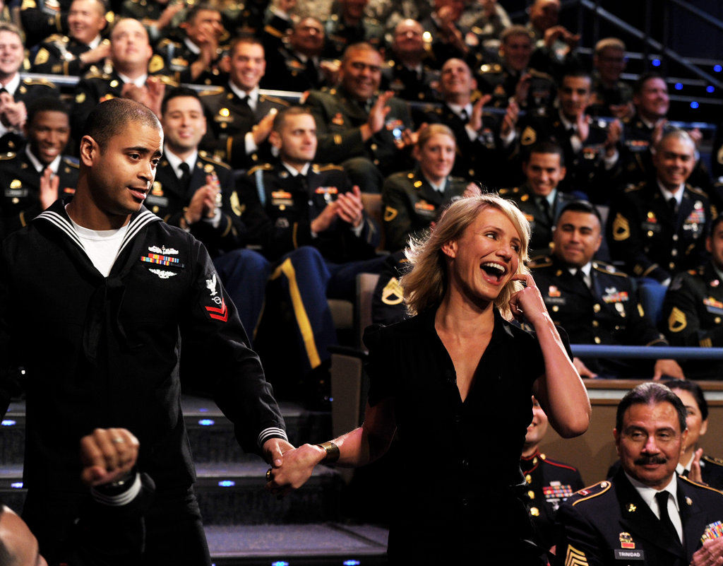 Cameron Diaz met a member of the military.