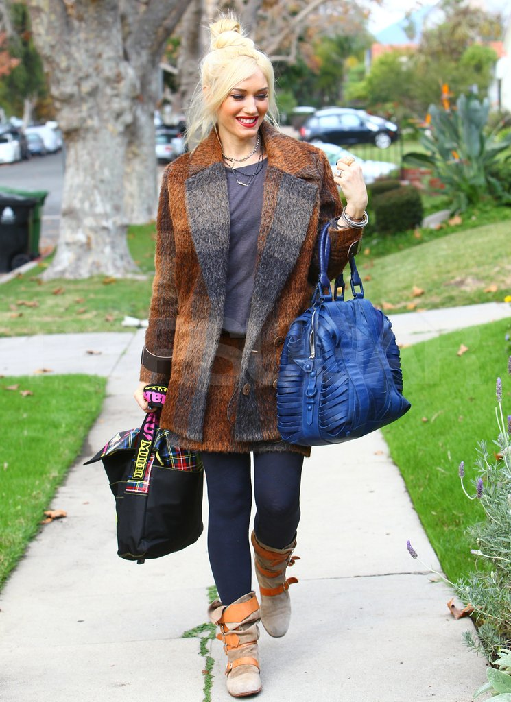 Gwen Stefani wore a plaid coat.