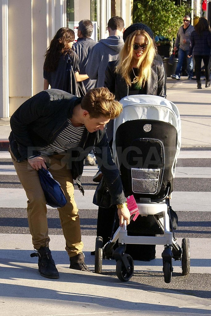 Rachel Zoe out shopping in LA with Jeremiah Brent and baby Skyler.