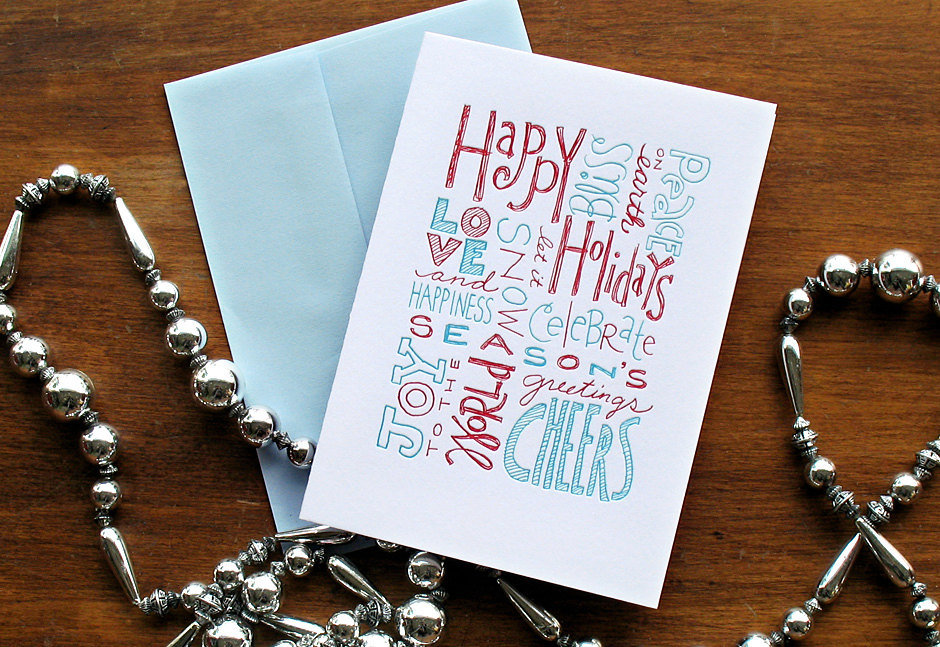 Hand-Drawn Letterpress Holiday Greetings Cards ($20 for 8)
