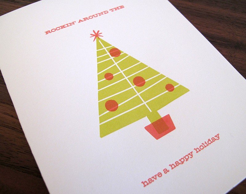 Mod Christmas Tree Letterpress Holiday Card ($20 for 5)