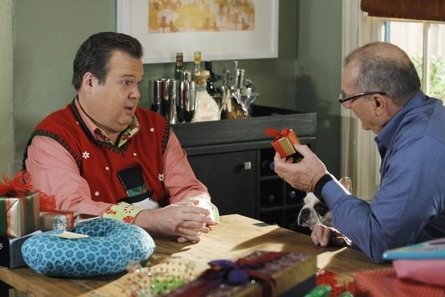 Eric Stonestreet as Cam and Ed O'Neill as Jay on Modern Family.  Photo copyright 2011 ABC, Inc.